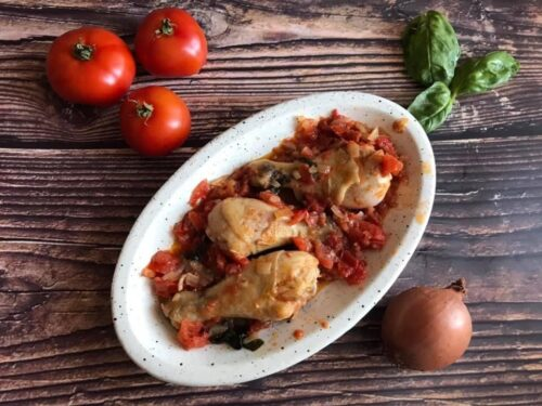 Fusi di pollo con pomodori freschi