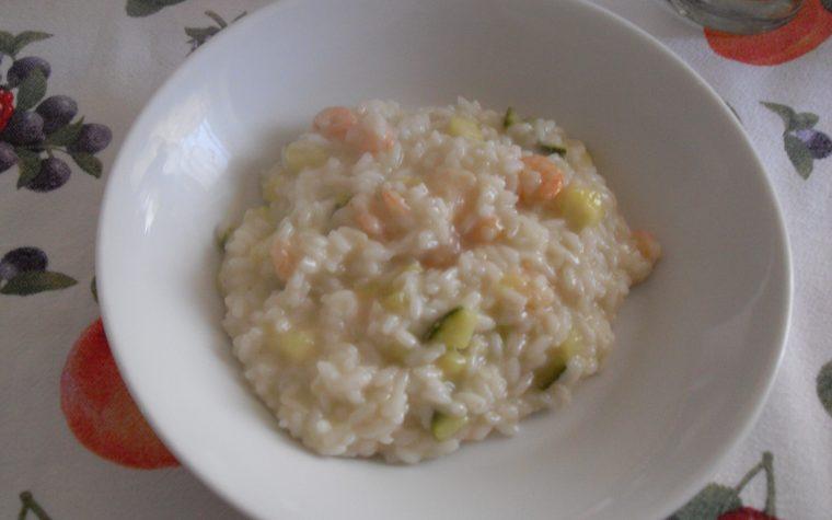 Un classico: risotto zucchine e gamberetti