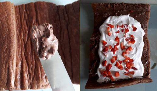 Rotolo al Cacao Panna e Fragole