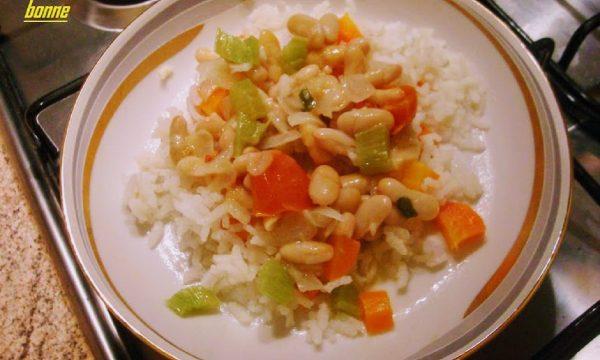 Riso con fagioli cannellini sedano e carota
