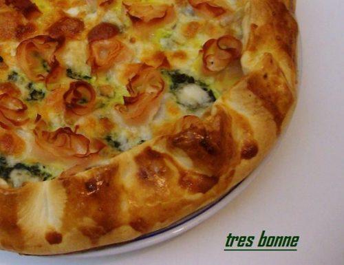 Quiche con spinaci mozzarella e prosciutto