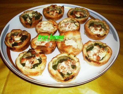 Cestini rustici ripieni con spinaci formaggio e prosciutto