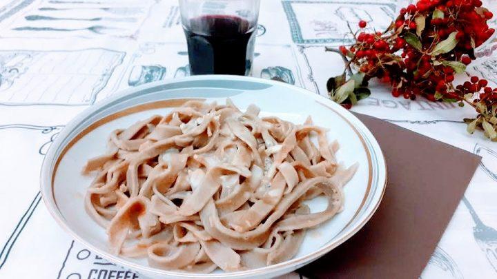 Tagliatelle al vino rosso e formaggio gorgonzola
