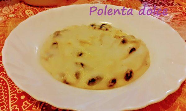 Polenta dolce con latte e uvetta nutriente e leggera