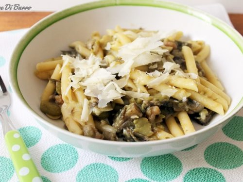 Pennette fave, carciofi e gamberetti, ricetta Noce Di Burro