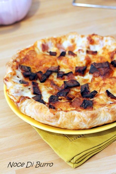 Torta rustica con patate e dadini di mortadella