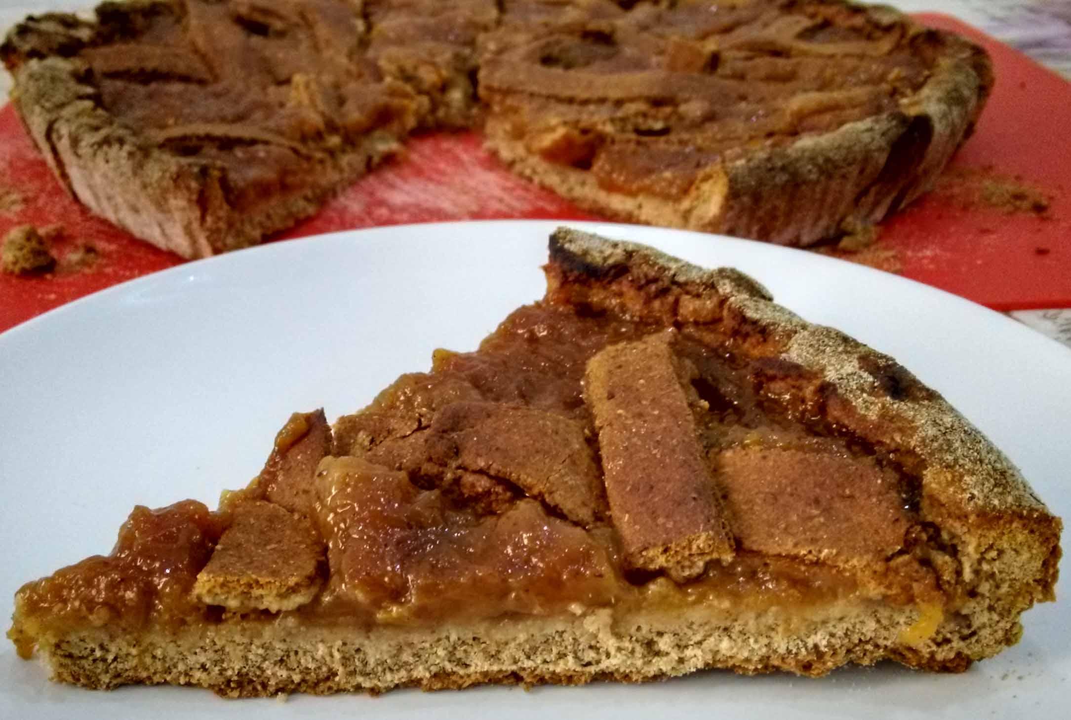 Crostata vegana con farina di miglio alle pesche con il bimby