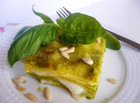 lasagnetta al pesto di basilico fresco con formaggi