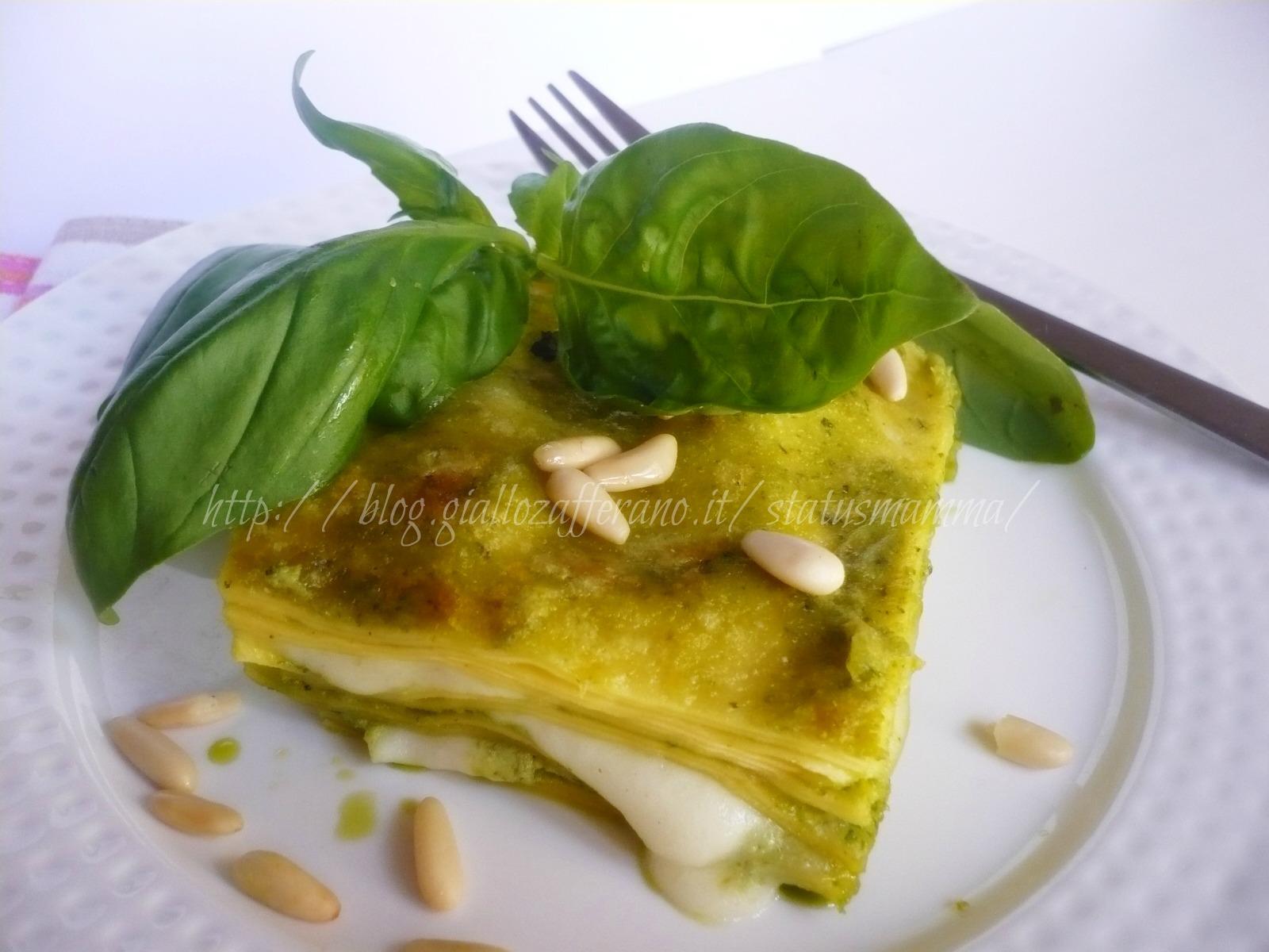 lasagnette al pesto di basilico fresco con formaggi ricetta primo status mamam statusmamma basilico