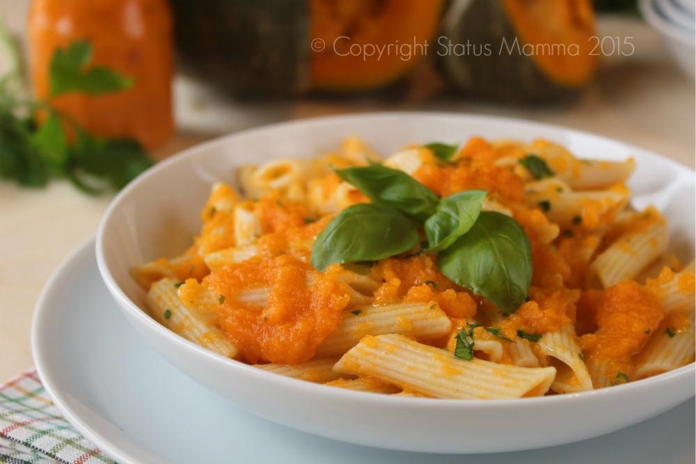 Penne in salsa di zucca verdura vegano vegetariano semplice veloce economico ricetta per bambini Statusmamma Gialloblogs