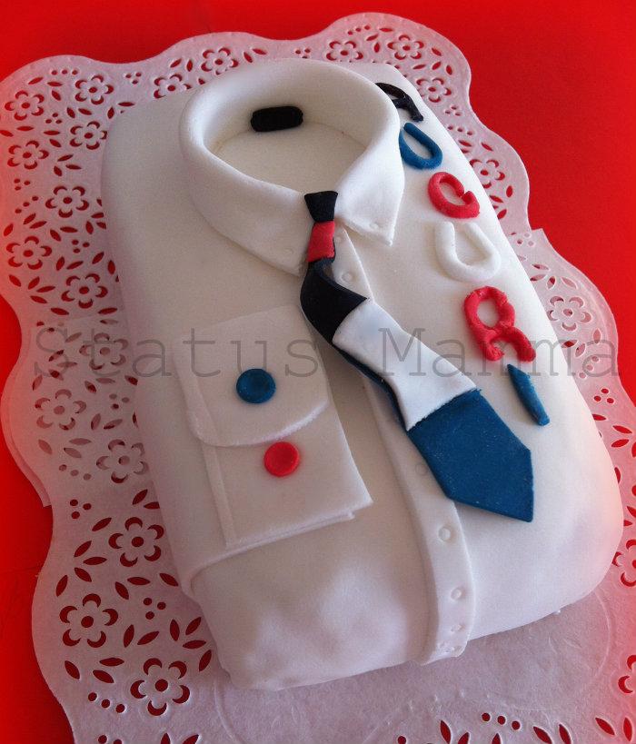 Torta camicia schirt cake festa del papa dolce torta bambini foto tutorial pasta da zucchero decorazioni pdz
