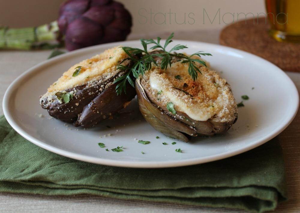 Carciofi in forno teglia ricetta sfiziosa Statusmamma blog blogGz Giallozafferano foto secondo contorno verdure vegetariano antipasto mozzarella