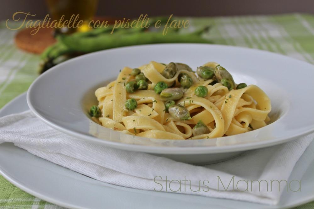 Tagliatelle con piselli e fave ricetta primo cucinare foto blog Tutorial Statusmamma facile veloce blogGz Giallozafferano recipes