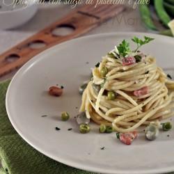 Spaghetti con sugo bianco di pisellini e fave ricetta cucinare verdura foto blog tutorial Giallozafferano blogGz Statusmamma