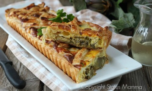 Torta salata di carciofi alla ligure con pasta sfoglia