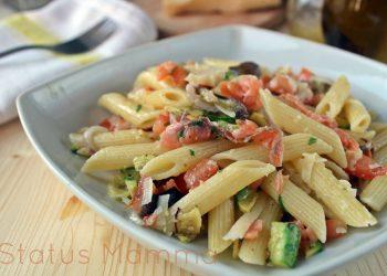 Pasta fredda con verdure grigliate e salmone ricetta fresca estiva leggera facile e veloce primo Statusmamma gialloblog