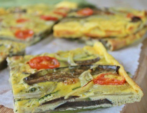 Torta d'uova con melanzane e zucchine