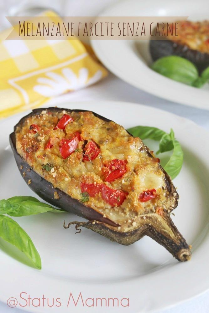 melanzane farcite senza carne ricetta gustosa cucinare statusmamma giallozafferano vegetariano bloggz pomodorini pomodoro basilico caprese facile