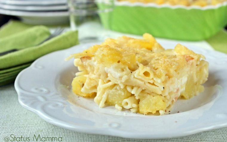 Pasta e patate con provola cottura al forno