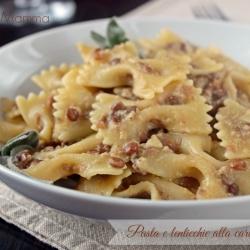 Pasta e lenticchie alla carbonara ricetta semplice veloce economico vegetariano primo piatto cucina cucinare ricetta Statusmamma blogGz Giallozafferano foto