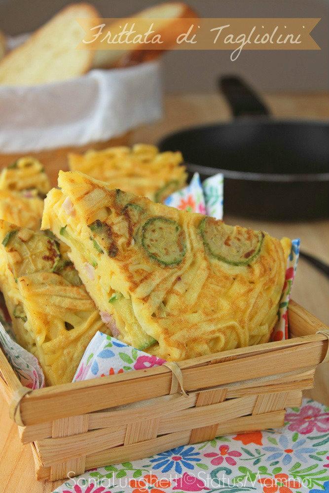 Frittata di tagliolini pancetta zucchine secondo piatto unico veloce semplice con uova fingerfood secondo pic nic Statusmamma semplice economico Giallozafferano