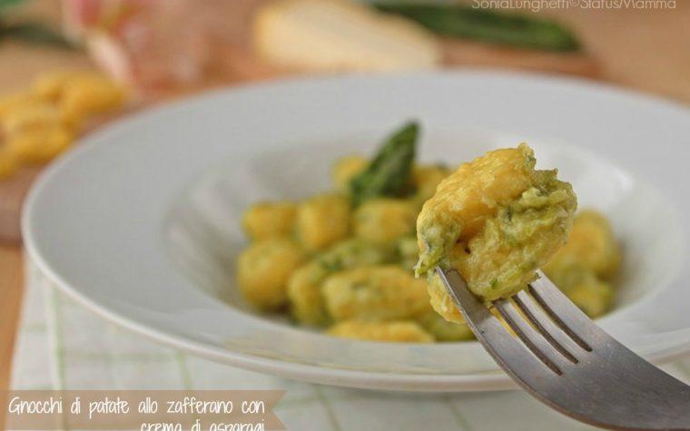 Gnocchi di patate allo zafferano con crema di asparagi  al castelmagno