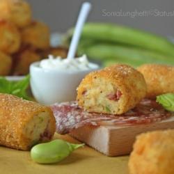 Crocchette polpette patate salame sopperssata calabra fave primavera ricetta antipasto buffet secondo aperitivo cucinare foto blog tutorial Statusmamma Giallozafferano