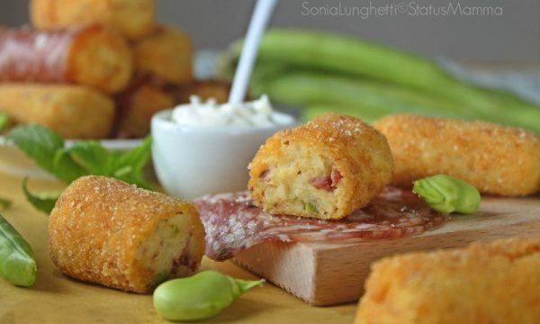Crocchette di patate fave e salame