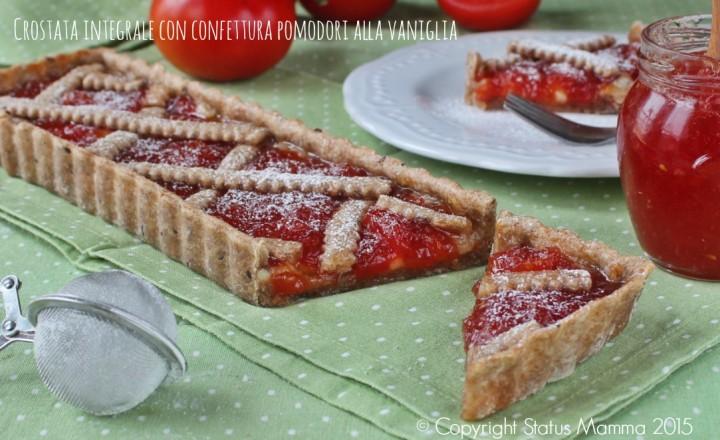 Crostata integrale con confettura di pomodori alla vaniglia dolce