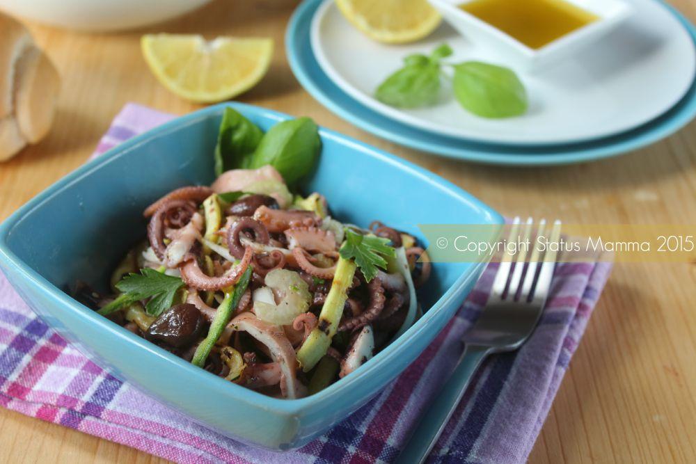 insalata di mare gustosa ricetta cucinare contorno antipasto di pesce moscardini polpo e d'intorni facile semplice Statusmamma blog Giallozafferano