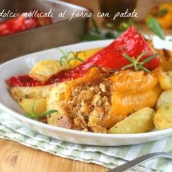 Peperoni lunghi dolci mollicati in forno con patate secondo con contorno ricetta facile gustosa sicilia siciliana cucinare foto blog tutorial senza carne veloce Statusmamma Giallozafferano