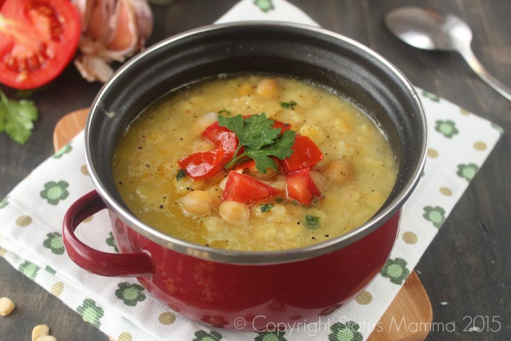 Zuppa di legumi con ceci cicerchia