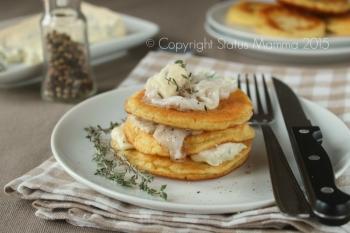 Pancake salati lardo e gorgonzola al timo