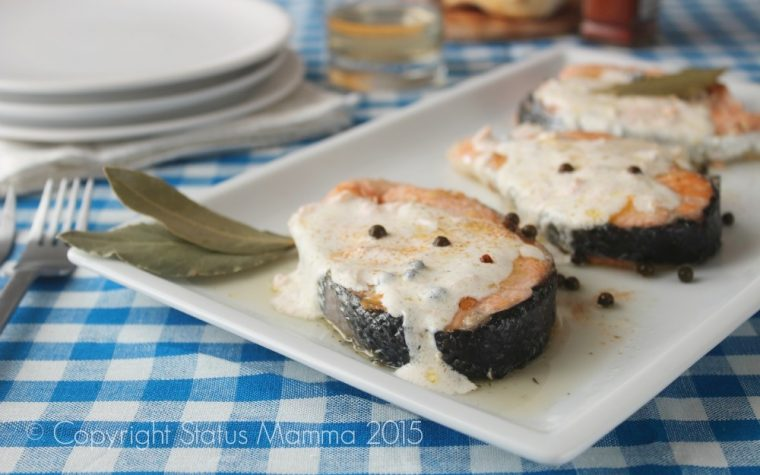 Tranci di salmone al pepe verde