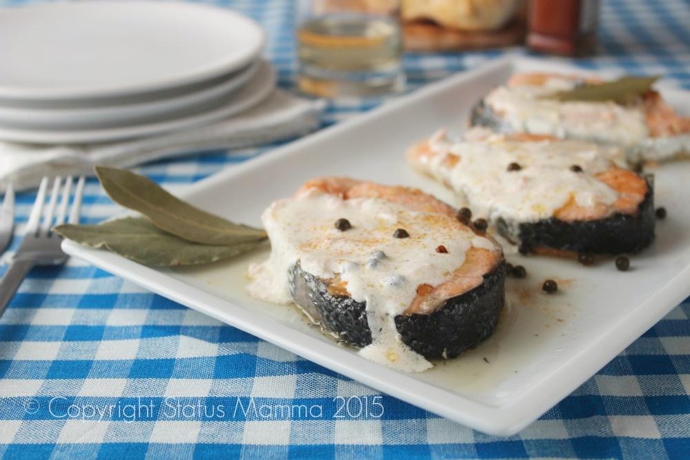 ricetta cucinare secondo veloce in padella economico facile © Copyright Status mamma 2015 Giallozafferano Statusmamma Tranci di salmone al pepe verde