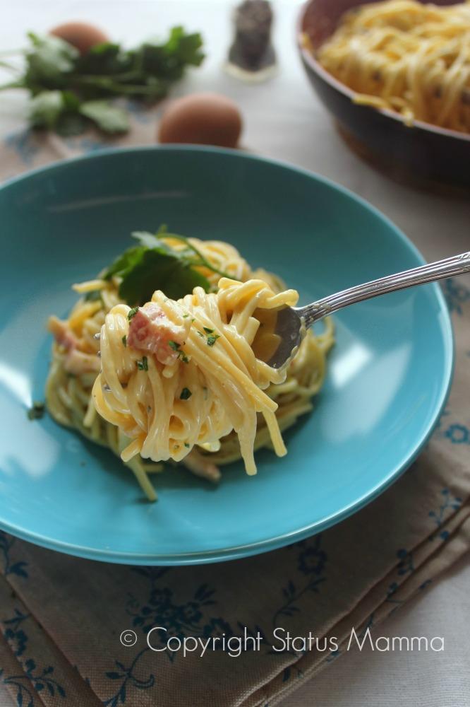 Crabonara ricetta sbagliata facile primo piatto con le uova guanciale Romano cucinare foto tutorial Statusmamma Giallozafferano