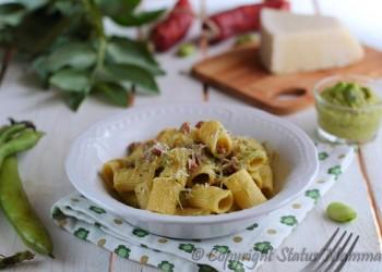 pasta primo con pesto di fave salame e pecorino facile veloce gustoso ricetta con verdura facile e veloce