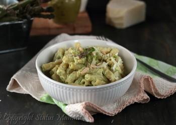 RICETTE CON LE VERDURE DI MAGGIO - Pasta con crema di ricotta e asparagi primo con verdure facile veloce e gustoso Statusmamma gialloblog