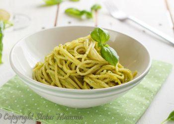 spaghetti con pesto e ricotta ricetta facile e gustosa Statusmamma giallozafferno cucinare primo ricetta food per bambini foto photo photograpy