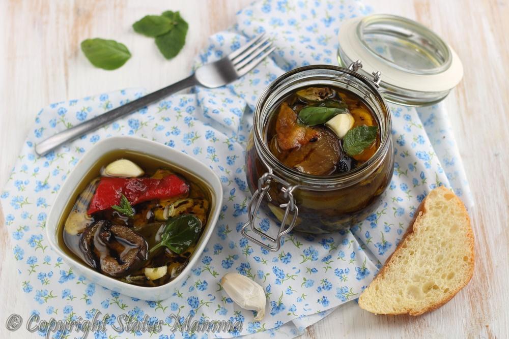 verdure miste grigliate sott'olio ricetta facile gustosa antipasto brischetta contorno condimento begetariano vegano estate fresco Statusmamma gialloblog