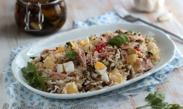 Riso freddo insalata con verdure grigliate