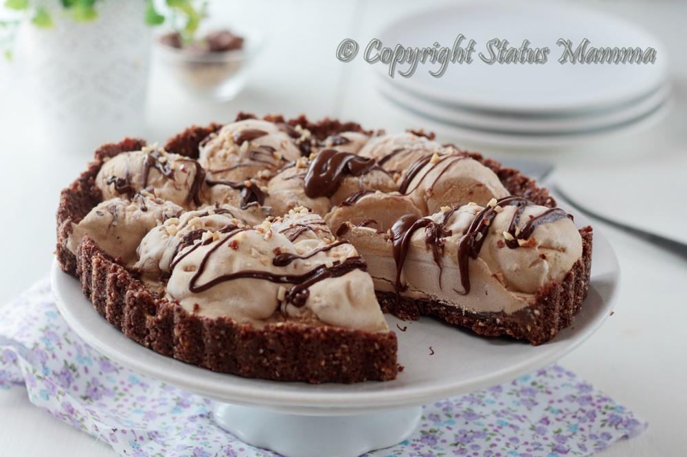 Crostata torta gelato ricetta senza cottura dolce con biscotti facile veloce nutella nocciole fredda ice cream cheesecake tutorial video Statusmamma gialloblogs