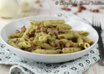 pennette cremose ricetta con panna pesto al pistacchio di bronte bacco ricetta primo facile veloce con prosciutto cotto Statusmamma gialloblogs BlogGz