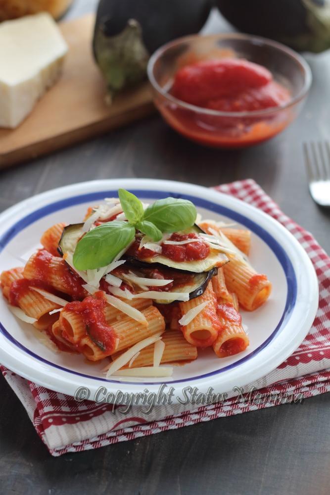Ricetta pasta alla Norma primo piatto vegetariano sicilia catania facile veloce Statusmamma gialloblogs