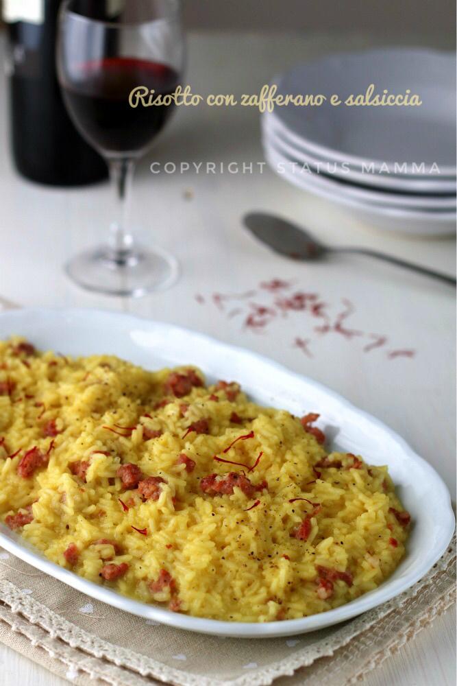 Ricetta risotto con zafferano e salsiccia primo piatto facile veloce lombardia foto food photograpy statusmamma giallozafferano gialloblogs