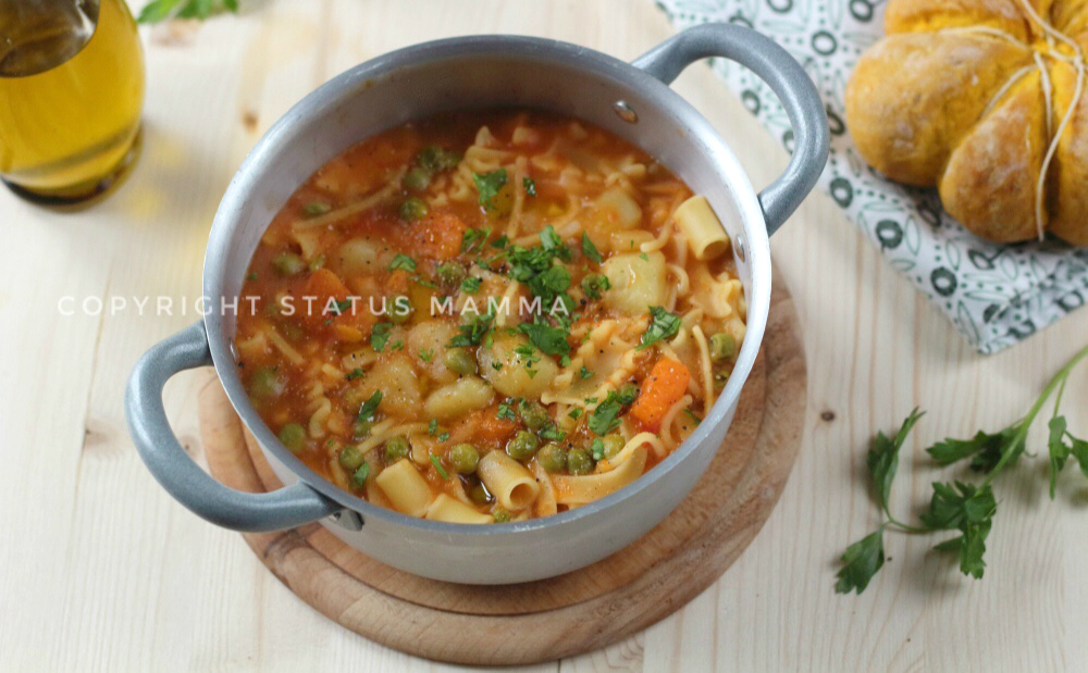Minestrone di zucca e patate pasta mista