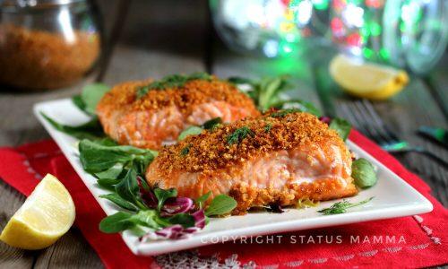 Ricetta filetto di salmone in crosta con panure mediterranea