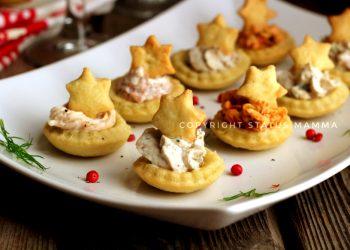 antipasti di capodanno cenone  RICETTE di Natale dall'antipasto al secondo Barchette salate di pasta brisè con farcitura mista