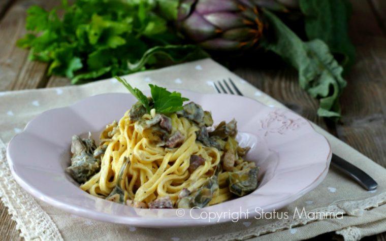 Tagliolini cremosi carciofi e pancetta