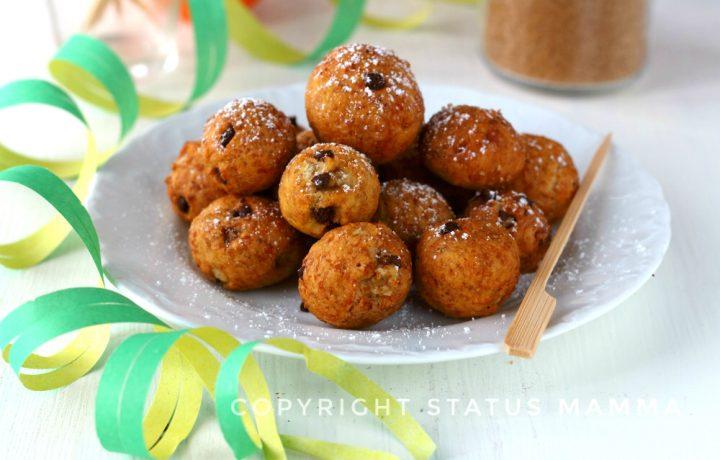 Castagnole integrali all'arancia e gocce di cioccolato soffici e friabili veloci